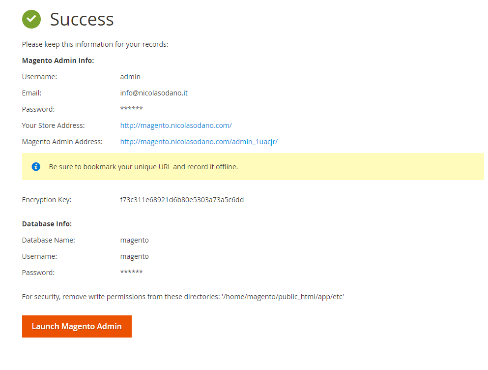 Success installazione Magento 2