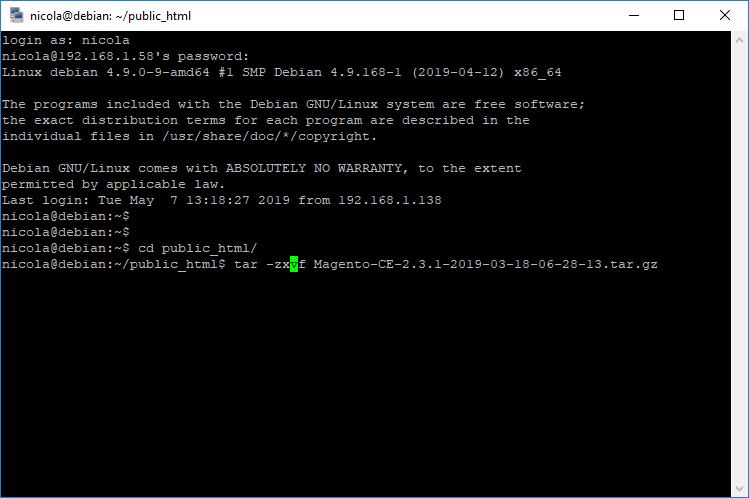 SSH - Estrazione file tar.gz