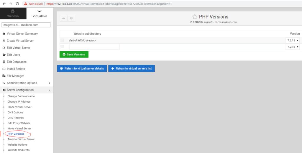 Virtualmin - Configurazione php 7.2