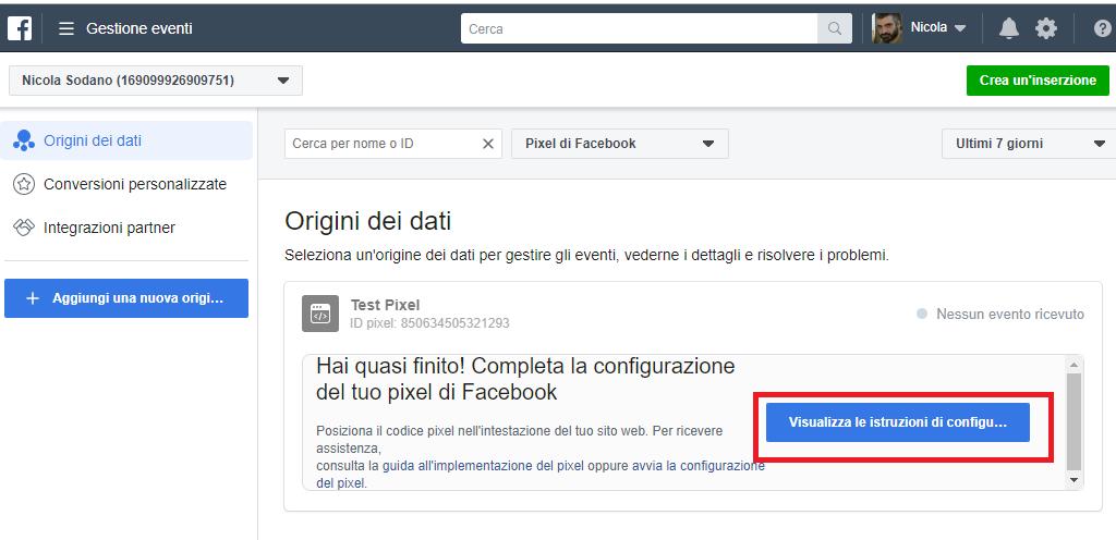 Configurazione guidata pixel di facebook