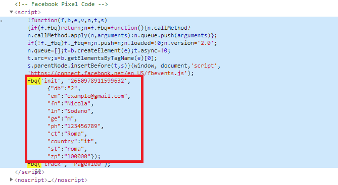 Pixel di Facebook - Codice